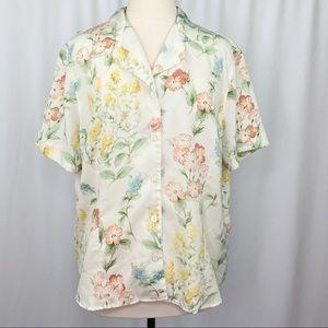 vintage neutral boho floral button-up blouse